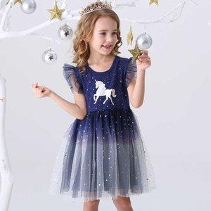 DXTON 2021 NUEVO Summer Princess ES Volar Mouwen Unicorn Party Girls Niños 3-8Y