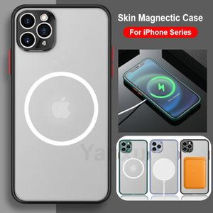 Magsafe Wireless Charger Case For iPhone 12 Mini 11Pro X XS Max XR 8 7 Plus Frosted Shockproof Metal Lens Protection Cover
