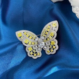 HBP New Butterfly series S925 Sterling Silver Brooch luxury hand inlaid high carbon full diamond fashion