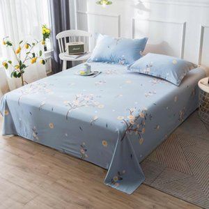 100% Cotton Bedding Soft Flat Sheet Wrinkle Fade Stain Resistant Queen King Full Size Blue Flower Home Winter 91*96in