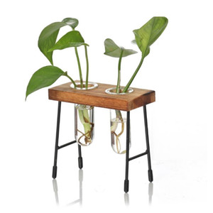 Creative Glass Clear Tube Shape Bonsai Flower Vase Plant Pot Hydroponic Terrarium Container Holder With Wood Retro Stand Desk
