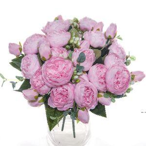 Künstliche Blumen Seide Pfingstrosen Rosen Blumenstrauß Hohe Qualität Vase Für Wohnkultur Weihnachten Hochzeit Dekorative Braut Gefälschte Pflanzen HWD5253