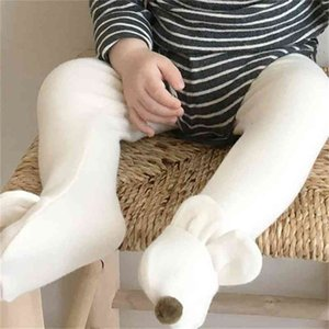 Autumn Winter cute baby boys girls rabbit ear ball pantynose infant kids cotton solid color Stockings 0-2Y 210708