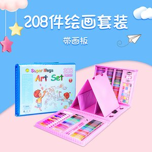 Children's watercolor pen 208 double Sketchpad set crayon color oil painting stick primary school art supplies