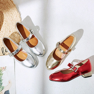 YQBTDL New Arrival Silver Gold Red Low Heels Ladies Pumps Plus Size Summer Girls Party Mary Jane Shoes For Women Chunky Heel w2Me#