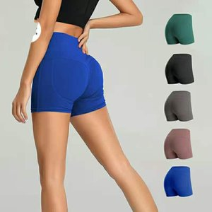 European and American lu-88 same knee five point exercise pocket tight fitness quick dry high waist hip lifting YOGA SHORTS 002