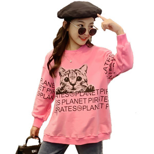 2021 New Retro-release Children Cotton Nightgown with Cat Impression Princess Girl Long Sleeve T-shirt for Spring Fall Children's Clothes N1