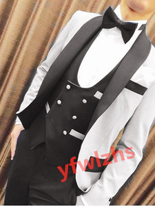 Handsome One Button Groomsmen Shawl Lapel Groom Tuxedos Mens Wedding Dress Man Jacket Blazer Prom Dinner suits (Jacket+Pants+Tie+Vest) W609