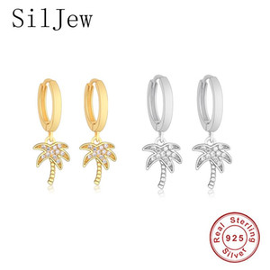 SilJew 925 Sterling Silver Hoop Earring Women Jewelry Gold Plated Palm Tree Clip Circle Round Earrings Boucle Doreille Femme