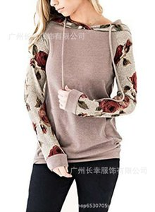 New women's autumn fashion print tie dye Pullover Hooded Sweater