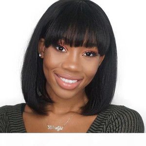 Short Lace Wig Real Virgin Brazilian Glueless Silky Straight Full Lace Front Cheap Short Bob Human Hair Wigs With Bangs