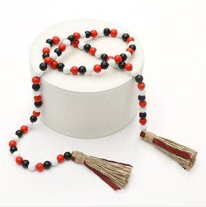 Tassel Bois Perle Candy Couleur Décor Pendentif Nordic Line Rope Tassels de Corde Bois Perles Décor Pendentif Long 149cm Zze5145
