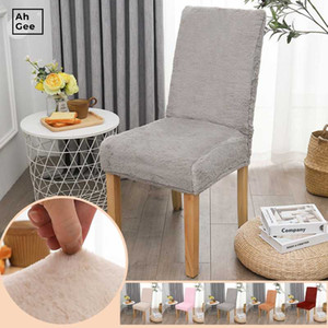 Faux Plush Chair Cover Gray Velvet Chair Cover Elastic Spandex Stretch Home Chairs For Kitchen Cushion