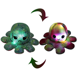 US Stock DHL Lighted Reversible Flip Octopus Stuffed Doll Soft Plush Toy Color Chapter Plush Doll Filled Plush Child Toy Gift