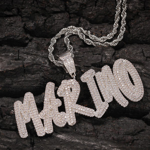 A-Z Custom Name Letters Pendant Necklaces Charm For Men Women Gift Shining Bling White Zirconia with Twisted Rope Chain