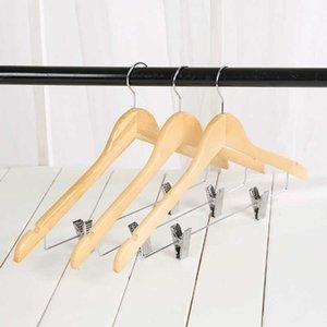 Деревянная вешалка с зажимом магазин магазин одежды стойки нескользящей одежды висит одежда для одежды для одежды деревянные детские деревянные вешалка для одежды