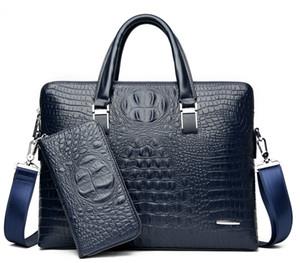 Crocodile pu leather briefcases business laptop bag for men high quality luxury designer men handbag