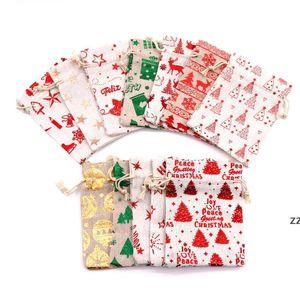 Bronzing Christmas Drawstring Bag Pouch Gift Wrapper 10*14cm Metallic Candy Treat Bags 13*18cm Birthday Festival Party Favor HWB10352