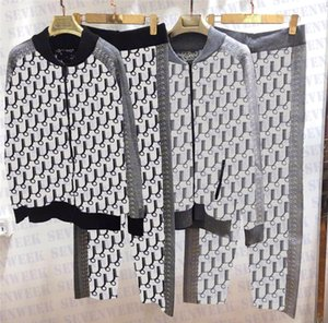 Womens Tracksuits Two Piece Set Full Letter Print Knits Hoodie Sportswear Fashion Casual Sweatshirts Pants Suit