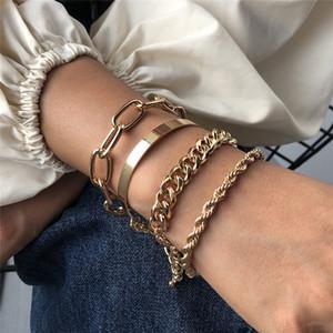 4Pcs Set Hip Hop Bracelet Bangles For Women Men Chunky Thick Cuban Bracelets Punk Vintage Silver Gold Twisted Rope Chain Bracelet QD