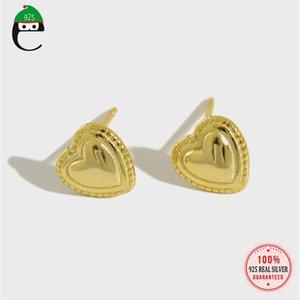 Elfoplatasi réal 925 sterling argent heart goujon boucle d'oreille cadeau d'amour pour femme mariage femme bijoux fins d'anniversaire de gilr ds2024