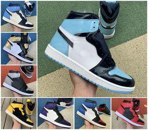 Neue 1 Universität Blauer Twist Mid Mailand Digital Rosa Glühbirne Chicago Basketballschuhe Männer 1s Top 3 gezüchtete Zehe Court Purple UNC Patent Sneakers