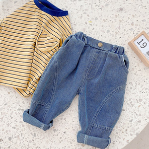 XZXY Korean Style INS Autumn Baby Kids Little Boys Pants Jeans Spring Elastic Wasit Trousers Summer Unisex Children Girls Trousers