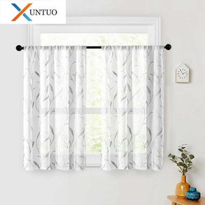 Modern Embroidery Short Tulle Curtains for Kitchen Half Window Living Room Bedroom Voile Curtain Home Decor Panel Sheer Drapes 210712