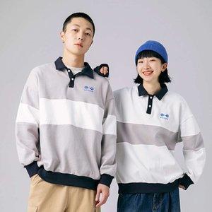 Xinchen 2021 Primavera Splicing Stripe Lapela Sweater Masculino Loose Casual Polo Camisa Maré Pullover Pullover Hoodies
