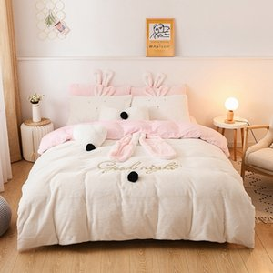 Lindo conejo oreja azul blanco amarillo vellón vellón invierno niña ropa de cama conjuntos de cama suave breve noviembre cubierta de cama sábana pillowcases c0223