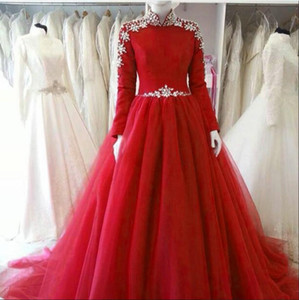 2021 Muslim Prom Dresses Arabic High Neck Red Evening Gowns Modest Long Sleeves Tulle Crystal Beading A line Zipper Formal Reception Dress