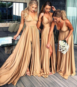 With Side Slit V Neck Bridesmaid Dress Sleeveless Satin Spring Summer Garden Wedding Guest Maid of Honor Gown Custom Made