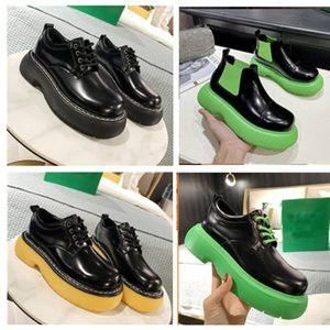 Design slide high quality womens famous leather womens fashion shoes formal round head flat bottom middle heel womens shoes lace up thick bottom deep mouth shoes
