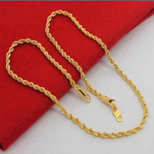 24K Pure Gold 3mm rope chain Necklace ,Wholesale Gold color Necklace Fashion Jewelry, Popular Chains For Men Punk Party