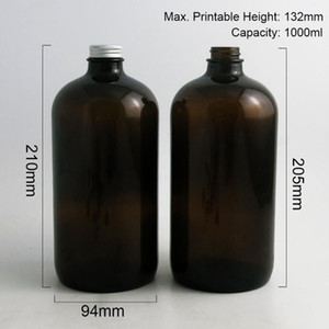 48 x 1000ml Large Refillable 33 Oz Amber Boston Round Glass Bottles with Silver Aluminum Cap 1000cc Glass Containers