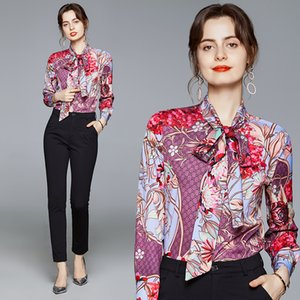 Floral Printed Runway Button Up Shirt 2021 Women Designer Tie Flowers Bow Office Lady Long Sleeve Blouse Spring Autumn Winter Vintage Female Shirts Slim Fashion Tops
