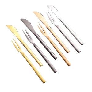 Cubiertos de fruta de acero inoxidable y cuchillo cubiertos oeste pequeño tenedor Dos dientes postre pastel vajilla fruta cafetería