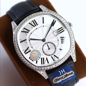 Melhor F5 Versão Drive de WSNM0004 Data Dial Branca Cal.1904-PS MC MC Automático Sapphire Mens Assista Prata Diamante Caso de Couro Luxry Watches