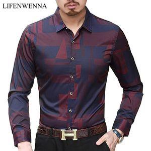Men's Casual Shirts Hot Men Shirt Mens Business Casual Shirts 2021 New Arrival Men Clothing Plaid Long Sleeve Camisa Masculina M-7XL