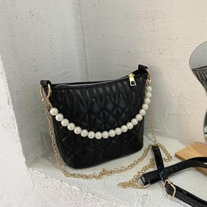 Women's Bag Female 2021 New Crossbody Quilted Bag Pearl Chain Flow Rhombus Bucket Messenger Shoulder Bags For Women