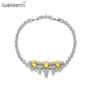 Allakalo Charm Tennis Femme Bracelet Yellow White Crystal CZ Stone Fashion Jewelry for Women Girl Wedding Engagement Gift Bijoux