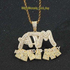 Evernity Insip European и American Hip Hop Подвеска CZ Diamonds Inlaid банкомат ATM Доллар Доллар Письмо Подвеска OUT Diamond Hiphop Мужские Ожерелье Ювелирные Изделия