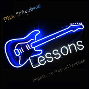 Lessons Live Music Guitar Band Room Studio Dual Color Glass led Neon Sign White& Blue