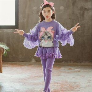 Vieeoease Girls Sets Christmas Cartoon Cat Long Sleeve Lace Sweater + Tutu Pantskirt for 2019 Autumn Winter Children Outfits 2 pcs CC-585