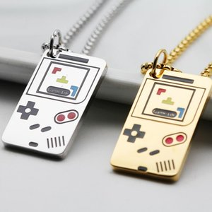 necklaces for mens choker Tetris jewelry on the neck stainless steel Game console gold Chain necklaces hip hop fashion necklace