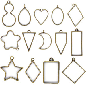Открытые подвески BEZEL Charms Смолы формы для ювелирных украшений DIY прессованная цветочная рамка ассорти геометрические полые лотки