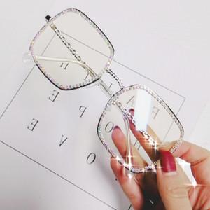 Oreldia luz plana diamante quadrado mulheres luxo cristal cristal lente óculos de sol vintage grande quadro feminino óculos ópticos