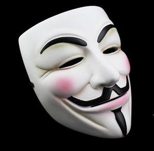 Weiß V Maske Maskerade Maske Eyeliner Halloween Full Face Masken Party Requisiten Vendetta Anonym Film Guy Großhandel Freies Verschiffen OWC6218