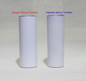 20oz Sublimation straight Skinny Tumblers Blank white Slim Stainless steel Cups 20 oz vacuum insulated double walled mugs and Plastic Straw