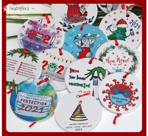 Stock Grinch Quarantine Christmas Ornament Xmas Hanging Pendant Sublimation Blanks Personalize for Tree Decor Wearing Mask Designer 2021 DHL Ship FY4832 BS14